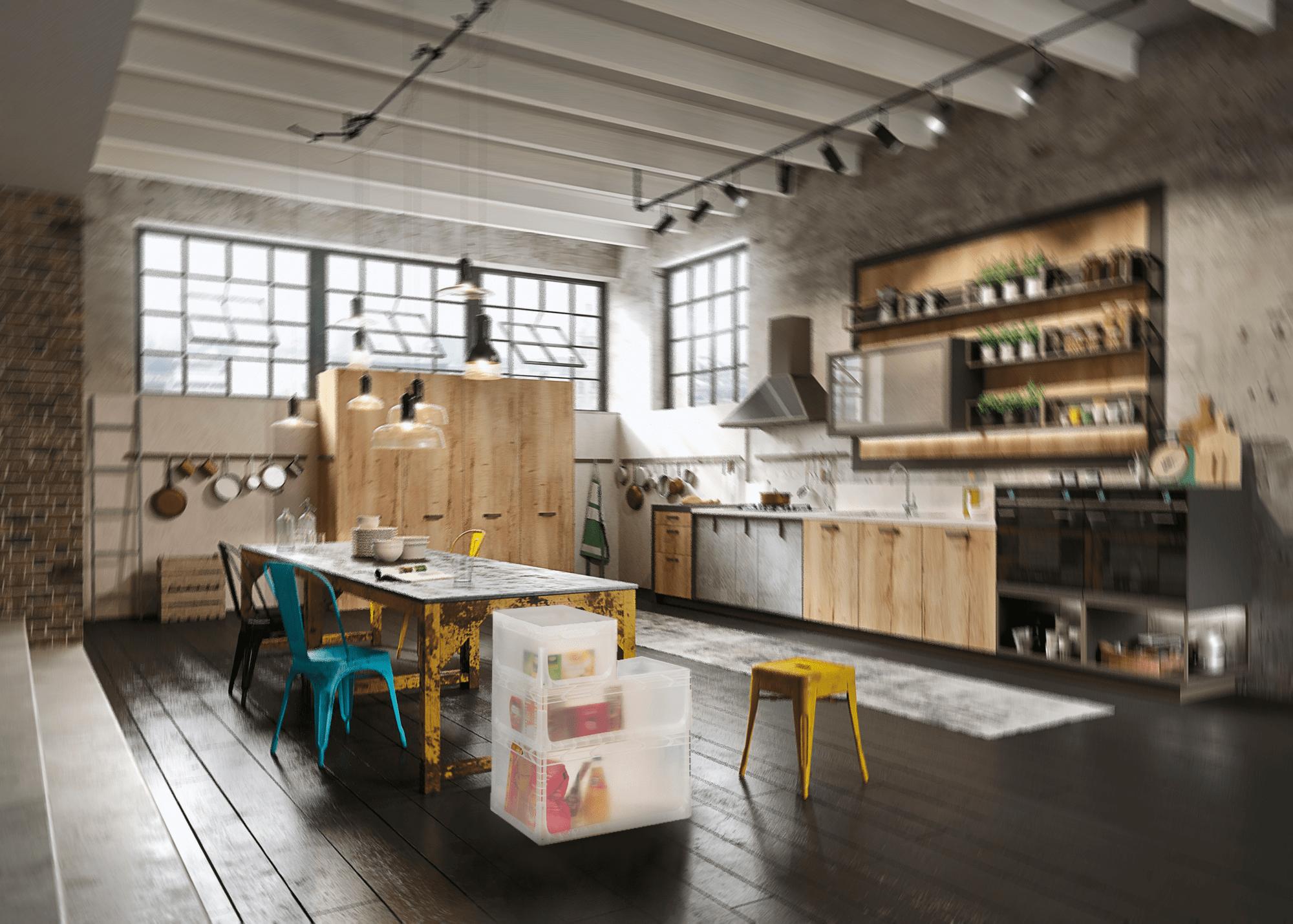 Contenitori in plastica per alimenti Linea Eurobox casa ambientata cucina
