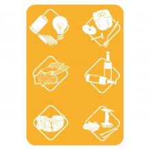 Biosystem dettaglio adesivi per bidoncini pattumiera raccolta differenziata Art Plast